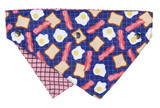 Bacon & Eggs Dog Cat Premium Bandana Snap On 2 Designs In 1