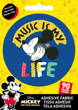 Mickey Mouse Fabric Badge Music Is My Life Sticker Disney