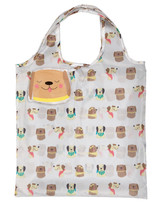 Whimsical Dog Design Reusable Shopping Tote Bag Eco Friendly 3 Pack