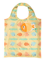 Whimsical Fish Design Reusable Shopping Tote Bag Eco Friendly 3 Pack