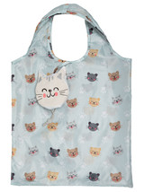 Whimsical Cat Design Reusable Shopping Tote Bag Eco Friendly 3 Pack
