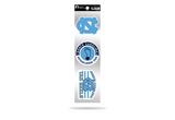 North Carolina Tar Heels 3pc Retro Spirit Decals Premium Throwback Stickers