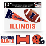 Illinois Fighting Illini Removable Wall Decor 6pc Set Premium Decals