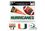 Miami Hurricanes Removable Wall Decor 6pc Set Premium Decals