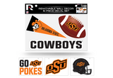 Oklahoma State Cowboys Removable Wall Decor 6pc Set Premium Decals