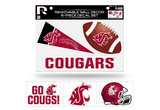 Washington State Cougars Removable Wall Decor 6pc Set Premium Decals
