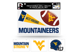 West Virginia Mountaineers Removable Wall Decor 6pc Set Premium Decals
