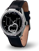 Miami Hurricanes Women's Beat Watch Floating Heart Crystals