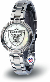 Oakland Raiders Women's Charm Watch Mother Of Pearl