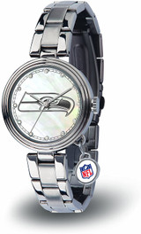 Seattle Seahawks Women's Charm Watch Mother Of Pearl