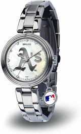 Oakland A's Athletics Women's Charm Watch Mother Of Pearl