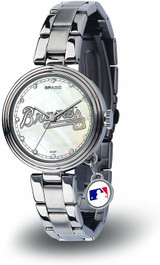 Atlanta Braves Women's Charm Watch Mother Of Pearl