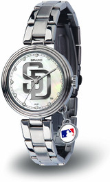 San Diego Padres Women's Charm Watch Mother Of Pearl