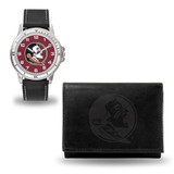 Florida State Seminoles Men's Black Watch & Wallet Set