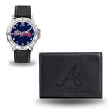 Atlanta Braves Men's Black Watch & Wallet Set