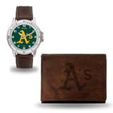 Oakland A's Athletics Men's Brown Watch & Wallet Set