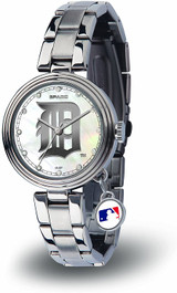 Detroit Tigers Women's Charm Watch Mother Of Pearl