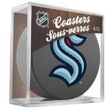 Seattle Kraken Real Hockey Puck Coasters Set