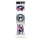 Columbus Blue Jackets 3pc Retro Spirit Decals Premium Throwback Stickers