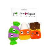 Halloween Candy Trio Dog Toy Plush Set Candy Corn Chocolate Bar