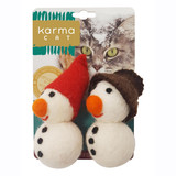 Winter Snowman Cat Toy 2pk Christmas Wool Non-Toxic