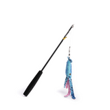 Deep Sea Cat Toy Wand Fishing Rod Teaser w/ Detachable Squid Catnip