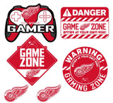 Detroit Red Wings Gamer Repositional Wall Decals 6pc Set Textured 12x14