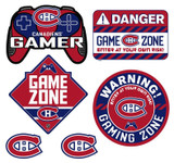 Montreal Canadiens Gamer Repositional Wall Decals 6pc Set Textured 12x14