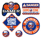 New York Islanders Gamer Repositional Wall Decals 6pc Set Textured 12x14