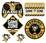 Pittsburgh Penguins Gamer Repositional Wall Decals 6pc Set Textured 12x14