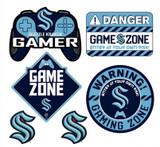 Seattle Kraken Gamer Repositional Wall Decals 6pc Set Textured 12x14