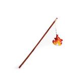 Happy Camper Cat Toy Wand Plush Wood Teaser w/ Detachable Flame Catnip