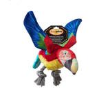 Pawprintz Parrot Dog Toy Premium Plush & Canvas w/ Pull Thru Rope