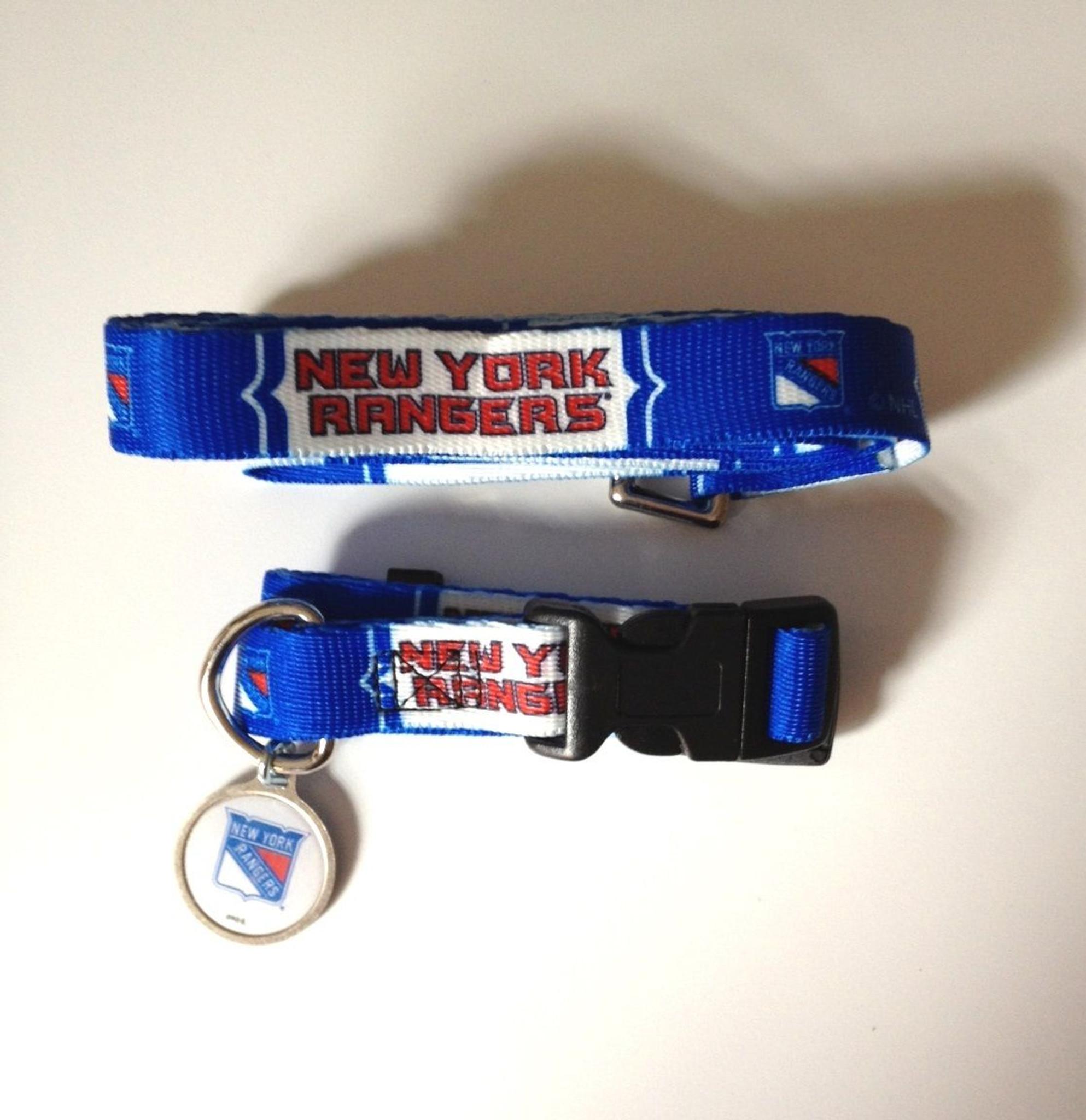 New York Rangers Dog 3pc Pet Set Leash Collar ID Tag - Spawty 13effea55