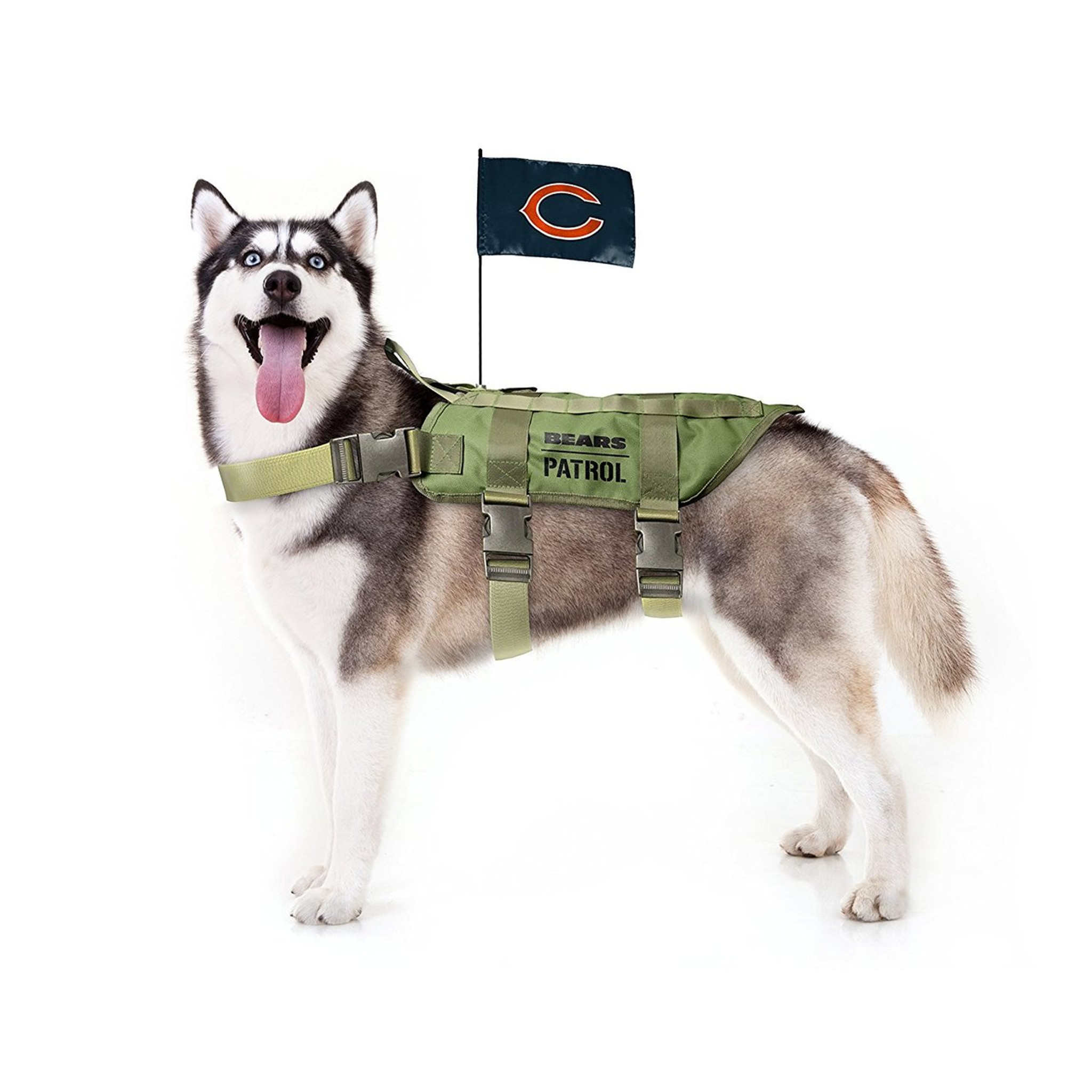 5dfde69f54a Chicago Bears Dog Pet Premium Tactical Vest Harness w/ Flag - Spawty