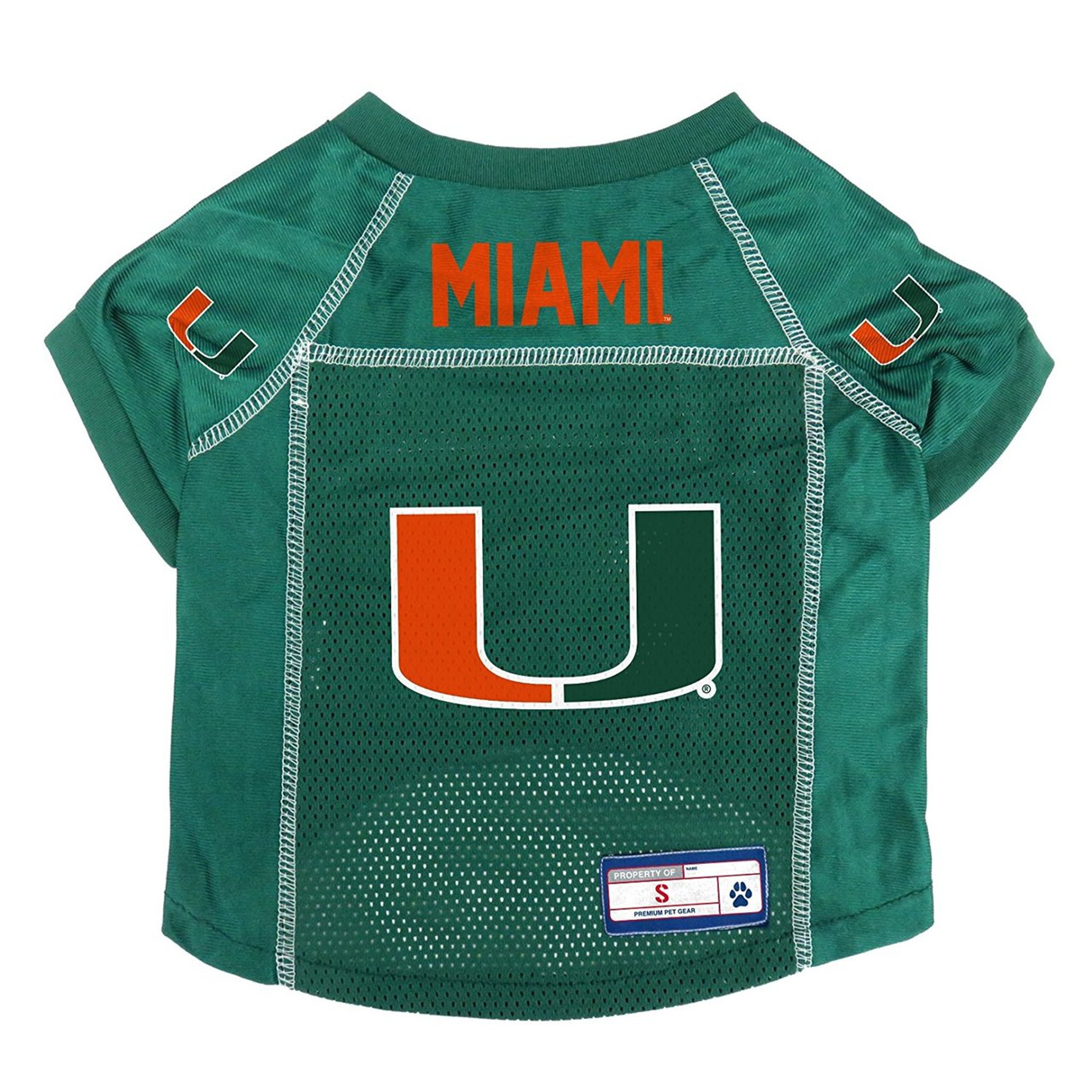 huge selection of 097a7 d89f9 Miami Hurricanes Dog Pet Premium Alternate Mesh Football Jersey LE