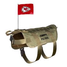 Kansas City Chiefs Dog Pet Premium Tactical Vest Harness w/ Flag