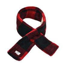 Red Plaid Dog Cat Fleece Scarf Soft Easy Pull Through