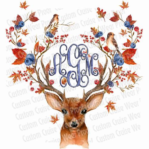 Deer Antlers Initial Shirt