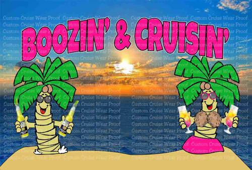 Door Sign Boozin' & Cruisin' Palm Trees with Drinks
