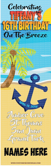 DOOR BANNER - Birthday Anchor on Beach