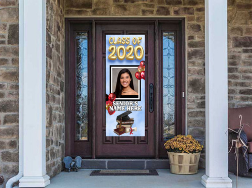 Class Of  2020 Front Door Banner - Graduation Cap with Books