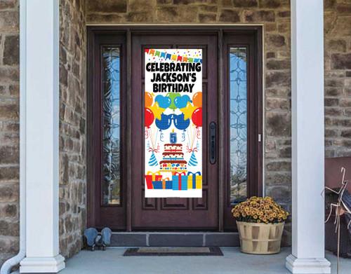 Front Door Banner - Birthday Cake with Balloons