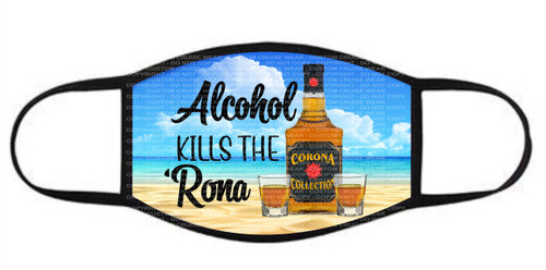 Face Cover - Alcohol Kills the Rona Whiskey Bottle