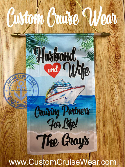 Cabin Door Flag - Husband And Wife Cruise Partners For Life Beach - Generic Ship
