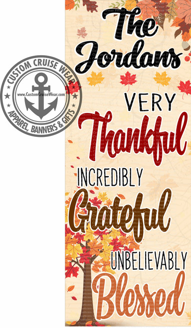 Front Door Banner - Fall Thankful Grateful Blessed