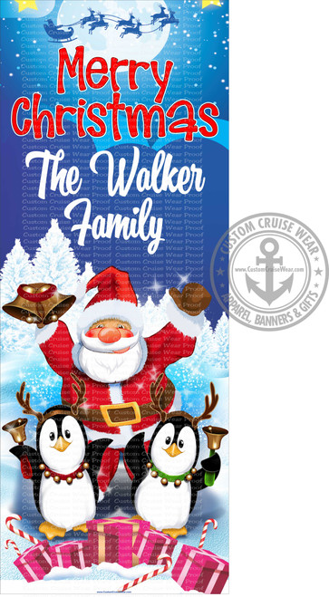 Front Door Banner - Christmas Merry Christmas Santa & Penguins