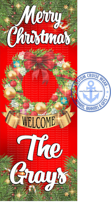 Front Door Banner - Christmas Holiday Wreath