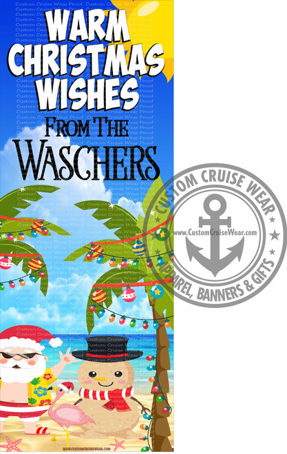 Front Door Banner - Christmas Beach Scene Warm Christmas Wishes