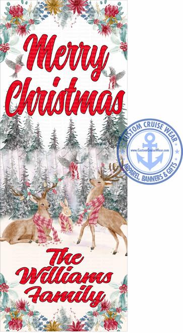 Front Door Banner - Christmas Woodland Deers